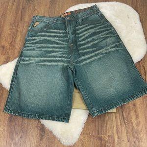 Akademiks Power Authority Medium Wash Denim Shorts